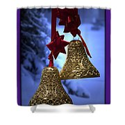 Golden Bells Purple Greeting Card Shower Curtain