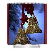 Golden Bells Red Greeting Card Shower Curtain