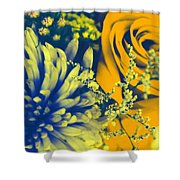 Golden Blossoms Pop Art Shower Curtain