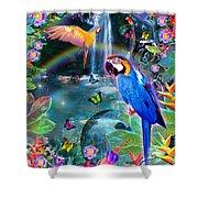 Golden Bluebirds Paradise Version 2 Shower Curtain