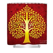 Golden Bodhi Tree No.1 Shower Curtain