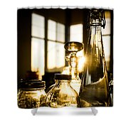 Golden Bottles And Mason Jars Shower Curtain