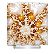Golden Brown And White Luxe Abstract Art Shower Curtain