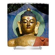 Golden Buddha Shower Curtain by Nila Newsom