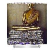 Golden Buddha On Pedestal Shower Curtain