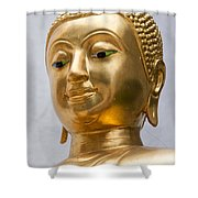 Golden Buddha Statue Shower Curtain by Antony McAulay