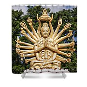 Golden Buddha With Many Arms Shower Curtain