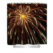 Golden Burst Shower Curtain