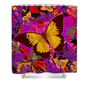 Golden Butterfly Painting Shower Curtain