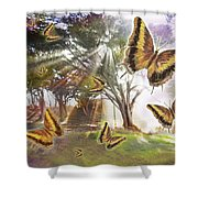 Golden Butterfly Rays Shower Curtain by Alixandra Mullins