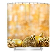 Golden Christmas  Shower Curtain