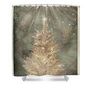 Golden Christmas Tree Shower Curtain
