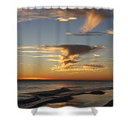 Golden Clouds And Blue Sky Shower Curtain