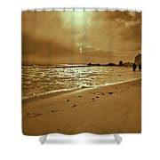Golden Coast Sunset Shower Curtain