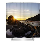 Golden Coastal Sunset Light Shower Curtain