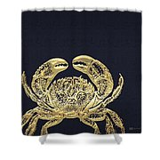 Golden Crab On Charcoal Black Shower Curtain