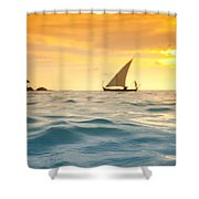 Golden Dhoni Sunset Shower Curtain by Sean Davey
