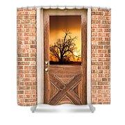 Golden Doorway Window View Shower Curtain