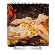 Golden Fall - The River Girl Shower Curtain