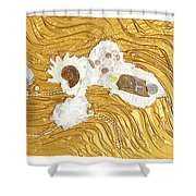 Golden Flow Stream Shower Curtain
