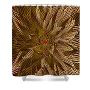 Golden Flower - Ruby Heart Shower Curtain
