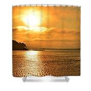 Golden Foggy Sunrise Colors On Santa Rosa Sound At Hurlburt Harbor Shower Curtain