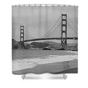 Golden Gate Bridge And Beach Shower Curtain