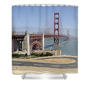 Golden Gate Bridge And Bike Path Shower Curtain