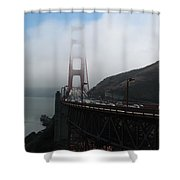 Golden Gate Bridge Pylons In A Mist Shower Curtain