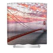 Golden Gate Bridge Sunset Evening Commute Shower Curtain