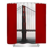 Golden Gate Bridge - Sunset With Bird Shower Curtain