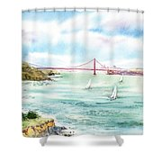 Golden Gate Bridge View From Point Bonita Shower Curtain by Irina Sztukowski