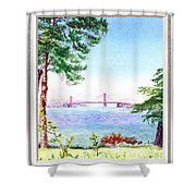 Golden Gate Bridge View Window Shower Curtain