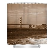 Golden Gate Bridge With Surf Sepia Shower Curtain