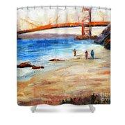 Golden Gate Stroll Shower Curtain