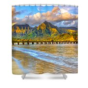Golden Hanalei Morning Shower Curtain