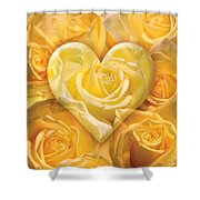 Golden Heart Of Roses Shower Curtain