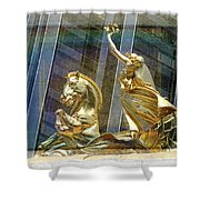 Golden Horse In The City Shower Curtain