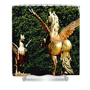 Golden Horses Shower Curtain