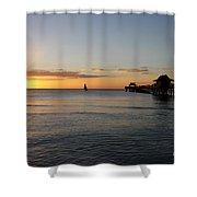 Golden Hour At Naples Pier Shower Curtain