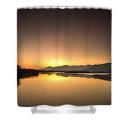 Golden Hour At The River Shower Curtain
