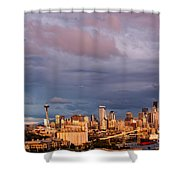 Golden Hour Reflected On Downtown Seattle And Space Needle - Seattle Washignton State Shower Curtain