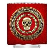 Golden Human Skull On Red   Shower Curtain