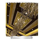 Golden Jewels And Gems - Sparkling Crystal Chandeliers  Shower Curtain