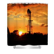 Golden Kansas Sunset With Windmill Shower Curtain