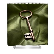 Golden Key On Green Silk  Shower Curtain