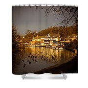 Golden Light At Boathouse Row Shower Curtain