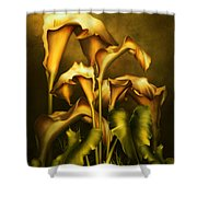Golden Lilies By Night Shower Curtain