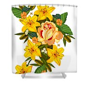 Golden Lily Flowers With Golden Rose Shower Curtain