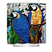 Golden Macaw Hand Embroidery Shower Curtain